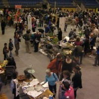 Trade fair over carpeted gym